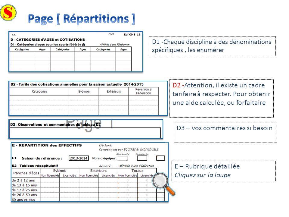 S Page [ Répartitions ] D1 -Chaque discipline à des dénominations spécifiques , les énumérer.